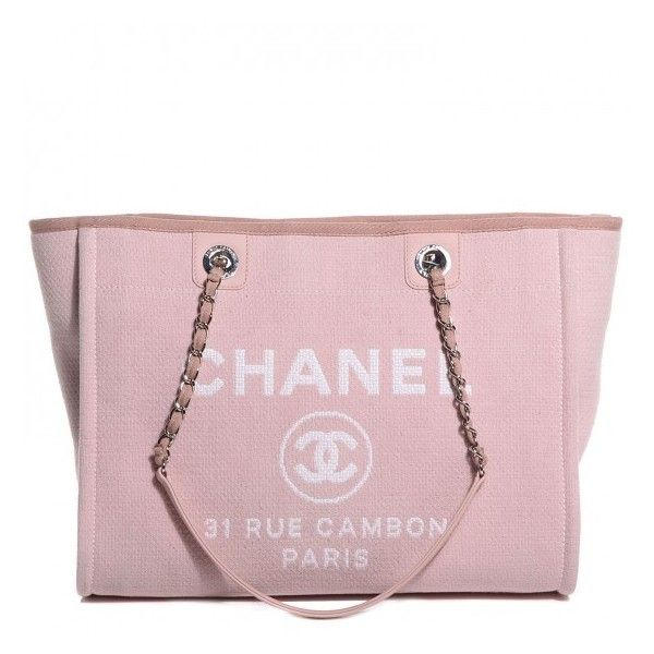 b0e9a6a5df52 CHANEL Canvas Deauville Small Tote Light Pink ❤ liked on Polyvore featuring  bags