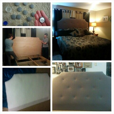 #diy #headboard get a piece of plywood depending on the size of your bed. Ours is a king so we used an 8 foot piece and cut it to 76 inches. Cut your decorative shape out with a jigsaw. We drew a curve on paper and then flipped it for the other side to make sure it was even. Spray adhesive on foam mattress pad and stick to plywood. Lay down a large piece of batting folded in half. Stretch it to the back side and staple on place with a staple gun. Do the same with the fabric. Stretching to…