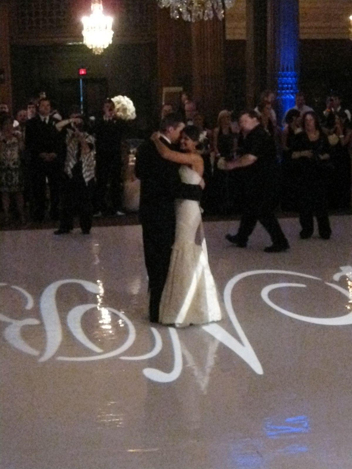 White dance floor with monogram gobo, Crystal Tea Room, Phila., Pa