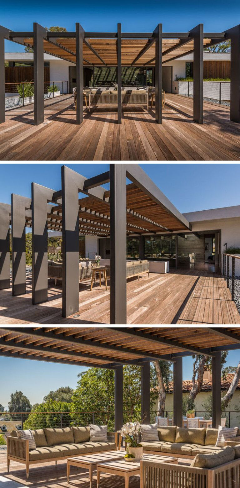 This large pergola that has enough space for a large outdoor lounge and dining area.