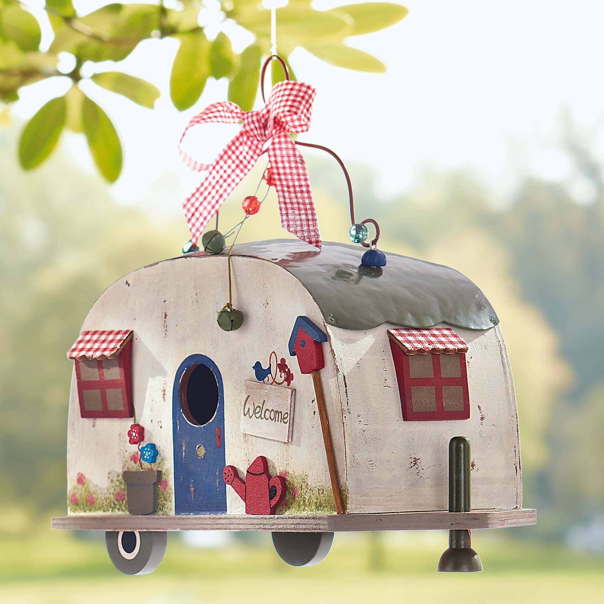 vogelhaus wohnwagen retro caravan birdhouse gingar online shop diy v gel haus und garten. Black Bedroom Furniture Sets. Home Design Ideas