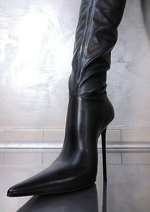MADE IN ITALY DAMEN HIGH HEEL OVERKNEE U6 SEXY BLACK BOOTS STIEFEL LEDER SCHWARZ