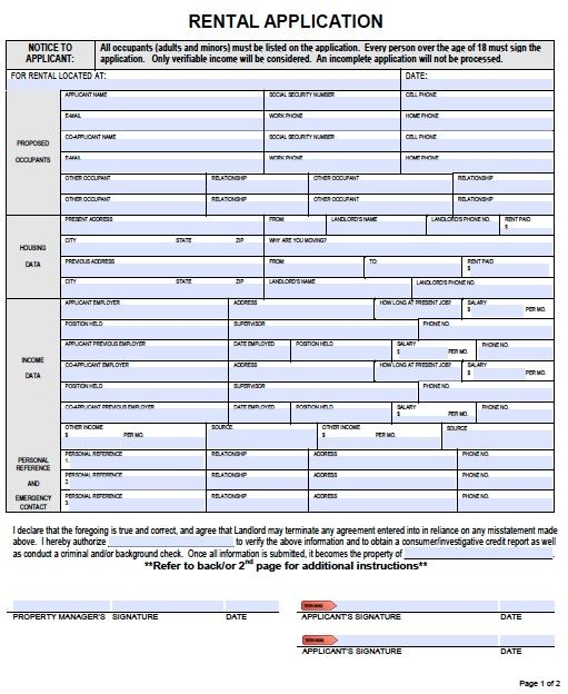 Printable Sample Rental Applications Form | Real Estate ...