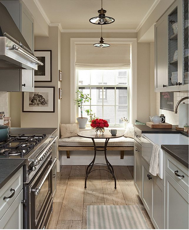 Small Galley Kitchen Design Ideas: Small Galley Kitchen Features Upper Cabinets With Chicken