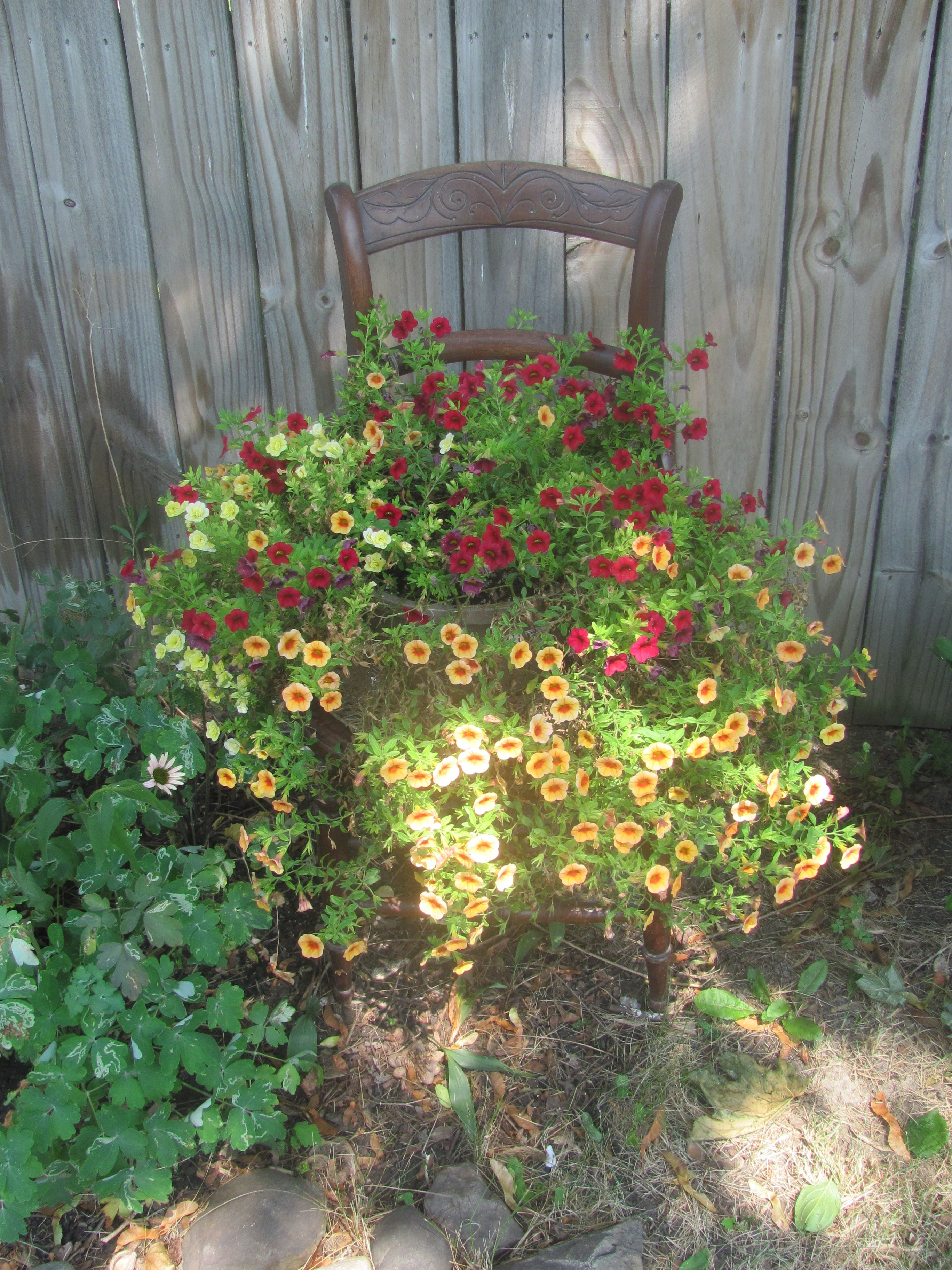 Someone put this chair out to the trash, wicker seat a little torn, brought it home & put a plant on it.  Doesn't get easier than this!