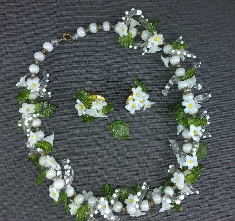 Vintage Venetian Art Glass Necklace Flowers Leaves White Green Italy Earrings Venetian Art Art Glass Jewelry Glass Art