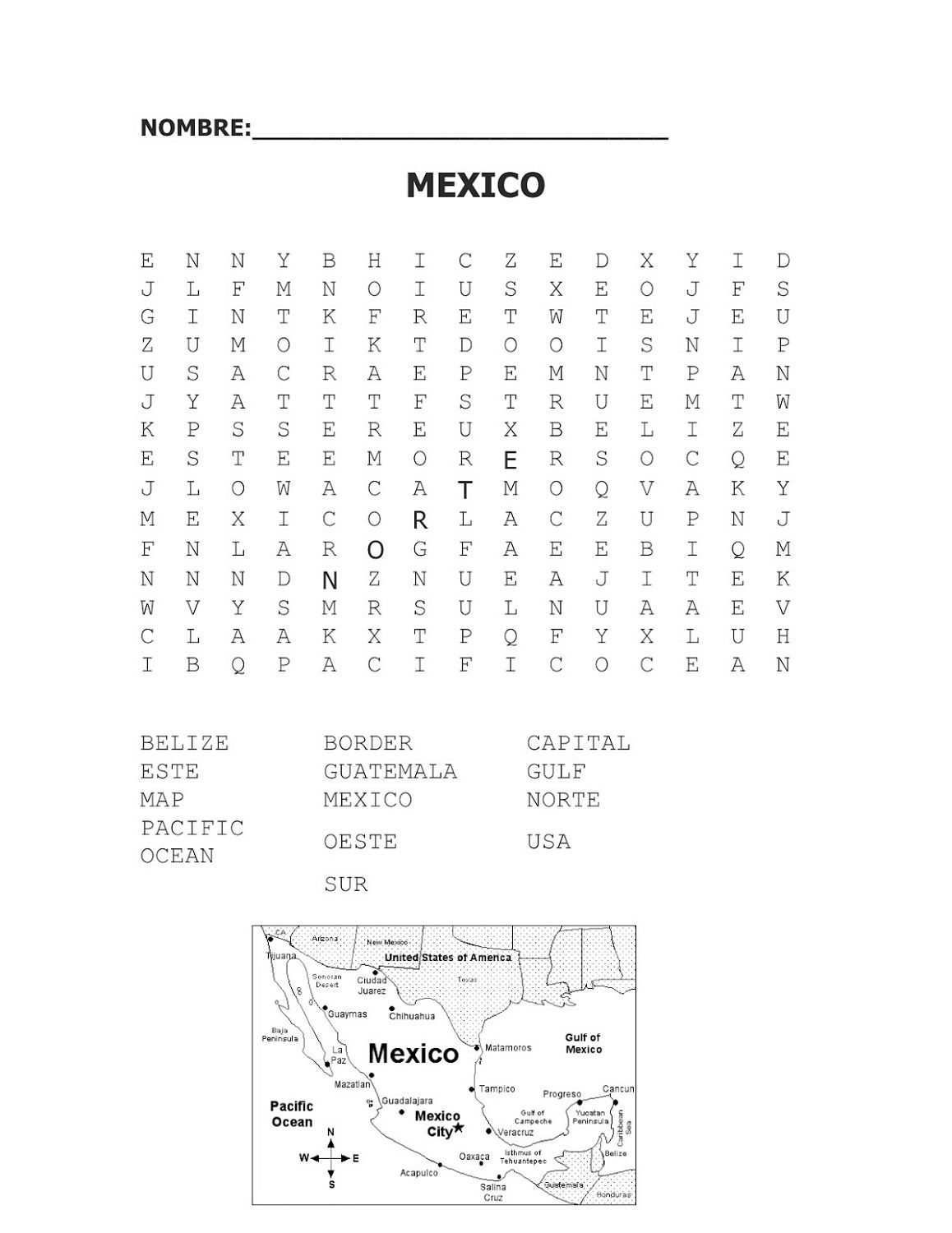 Word Search Worksheet Mexico