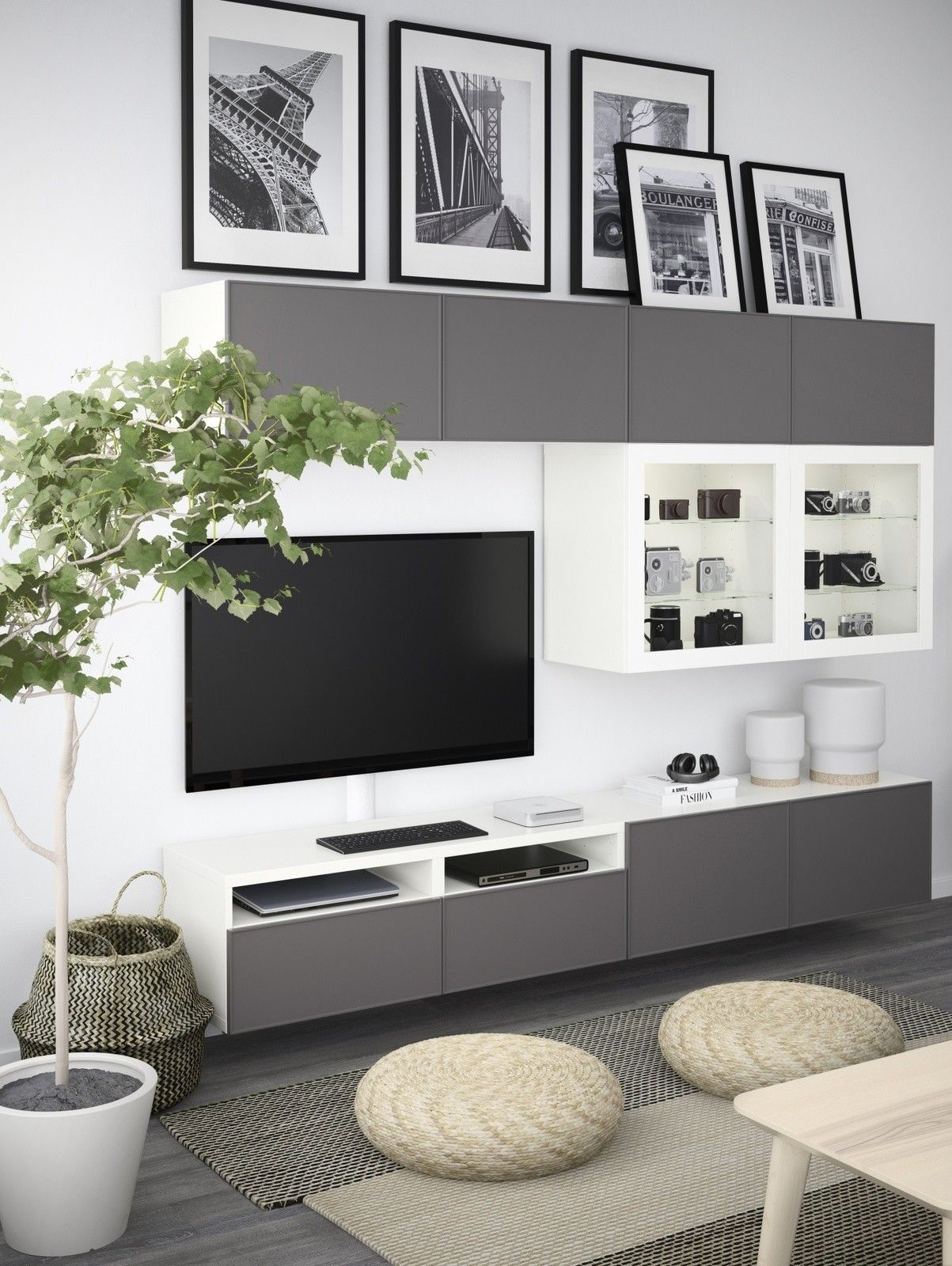 TV wall styling idea via