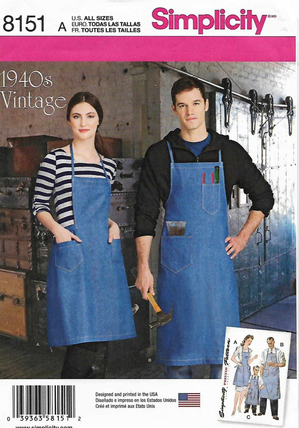 Simplicity Sewing Pattern 8151 Vintage Aprons for Boys Misses and Men Girls