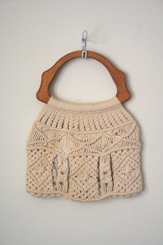 vintage bermuda bag / handbag MACRAME wooden handles 1970's HIPPIE / BOHO summer. $30.00, via Etsy.