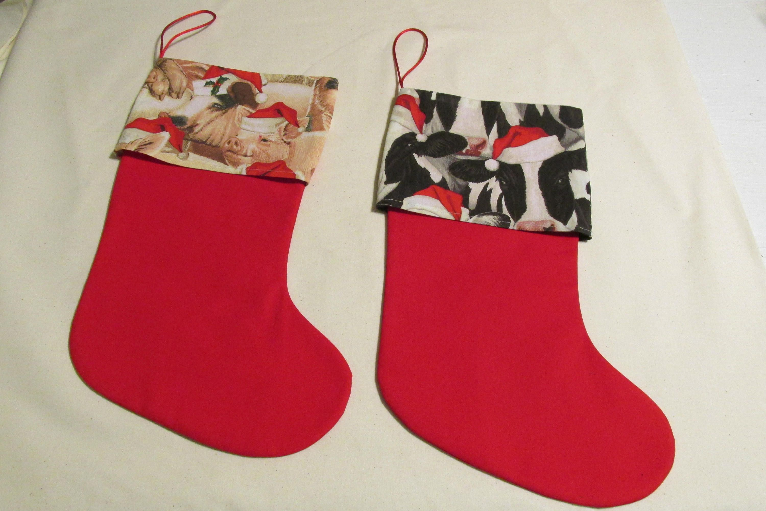 pig or cow christmas stocking barnyard christmas santa pig stockings farm christmas stocking funny christmas stocking - Funny Christmas Stockings