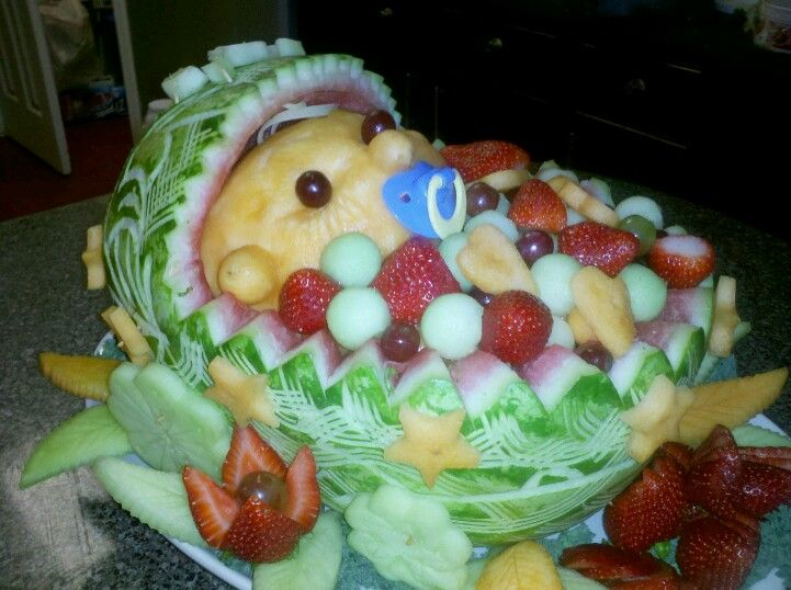 A Watermelon fruit basket carving of a Baby. (With images ...