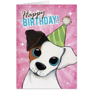 Happy Birthday Jack Russell Party Dog Greeting Card Jack Russell Dog Greeting Cards Jack Russell Terrier