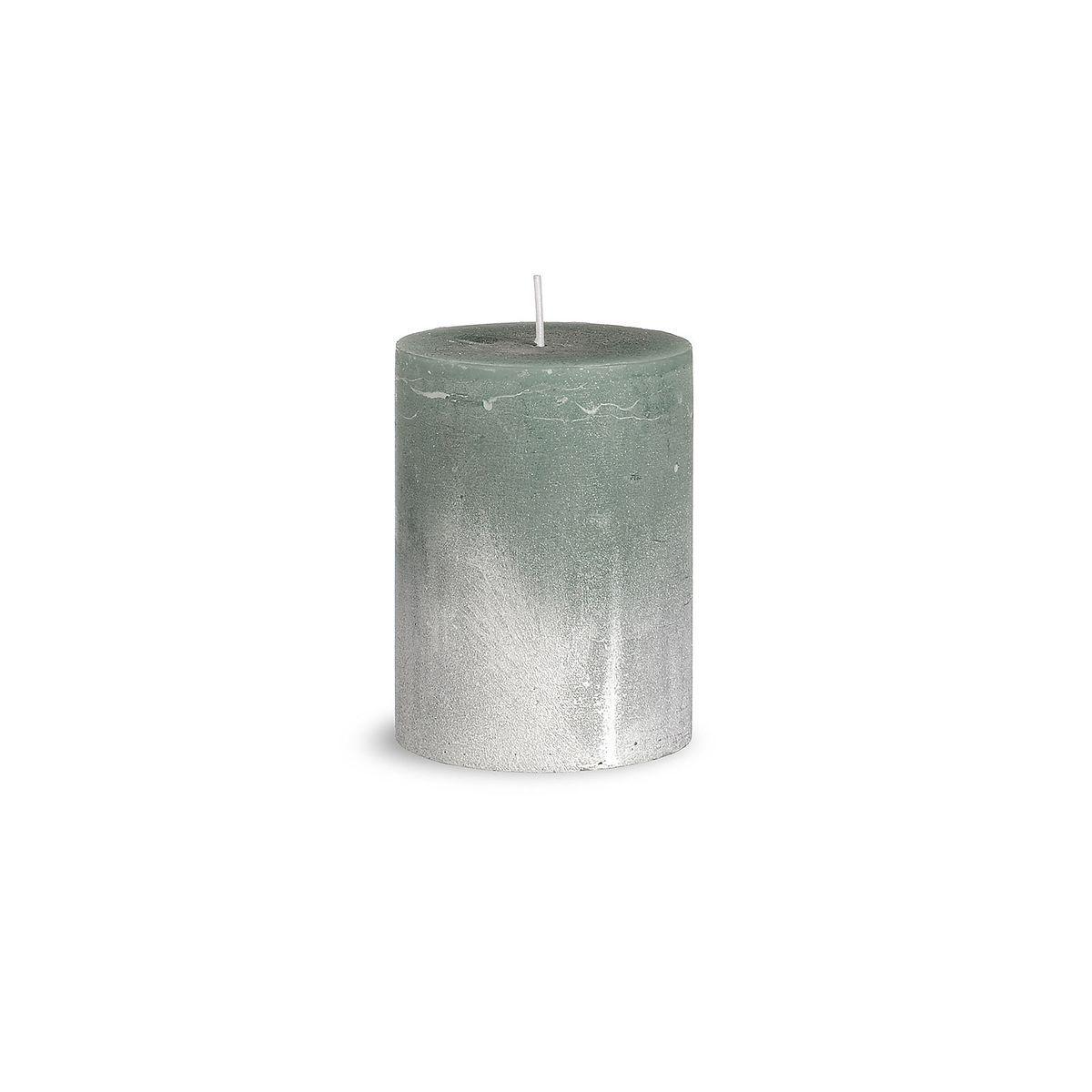 Kerze Rustic D 7 5cm X H 10cm Mintgrun Silberspray Adventskranz
