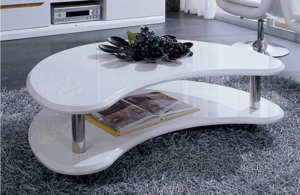 Modern Lacquer Coffee Table Furniture In White   Features: Two Tier  Construction, Kidney Bean