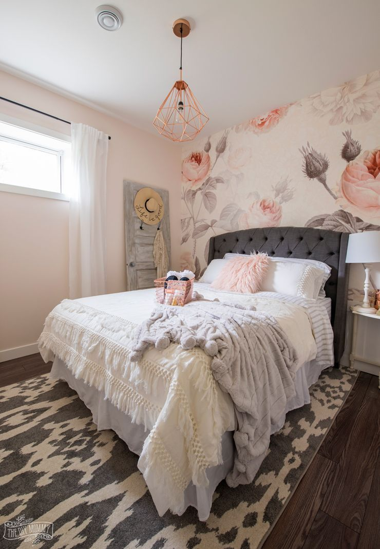 Feminine Modern Farmhouse Guest Bedroom Makeover With Large Floral Wall Mural Uphols Bedroom Makeover Before And After Bedroom Makeover Guest Bedroom Makeover Home bedroom makeover diy upholstered