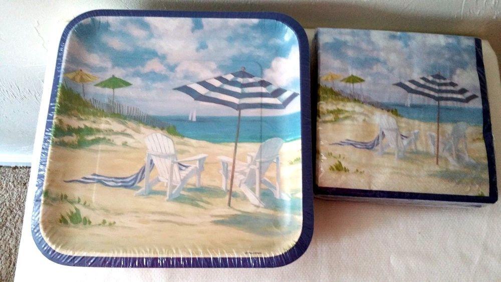 Nautical Set Paper Plates Napkins 100 Ct Perfect Beach Coastal