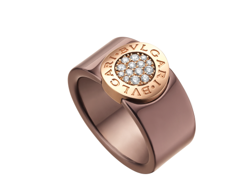 7c11dd0079c BVLGARI BVLGARI band ring in bronze ceramic and 18 kt pink gold with pavé  diamonds.