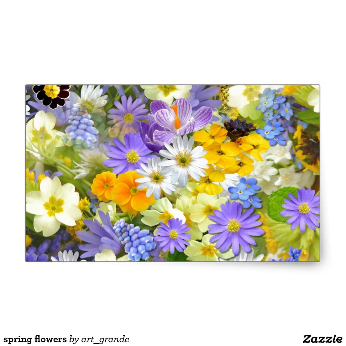 spring flowers rectangular sticker