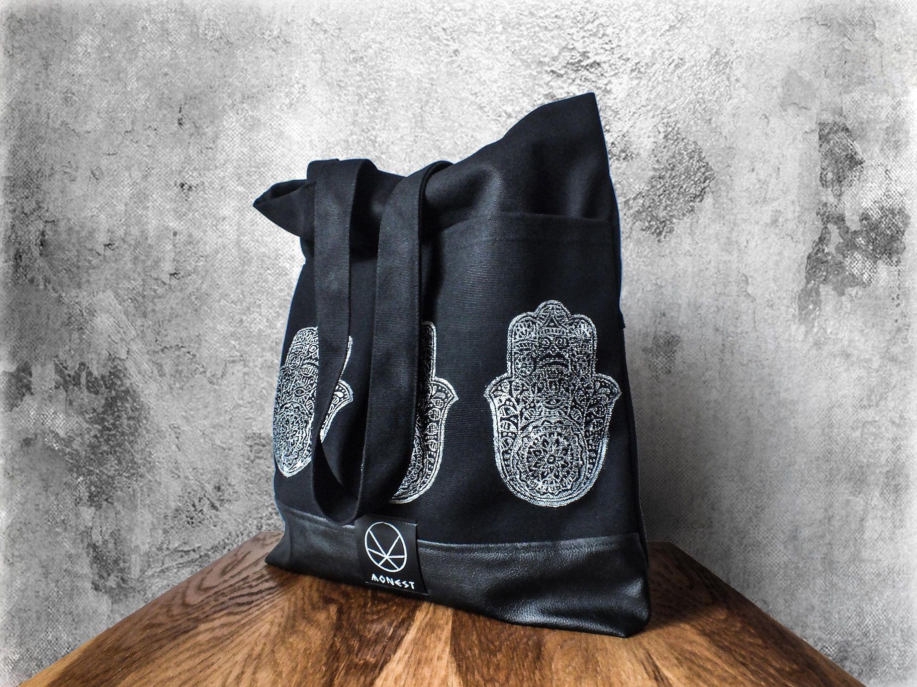 Torba Bawelniana Black Canvas Hamsa Hamsa Black Canvas Cotton Bag