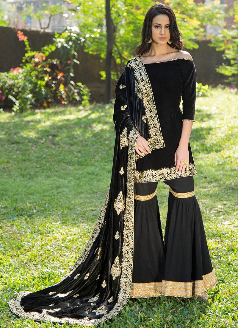 c6aa5fcfae Black Velvet Gharara Suit with Embroidered Shawl Dupatta | Valima ...