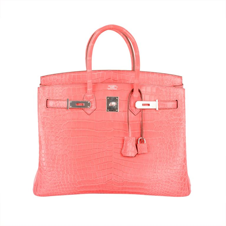 Hermes Birkin Bag 35cm Matte Pink Crocodile Bougenville Por