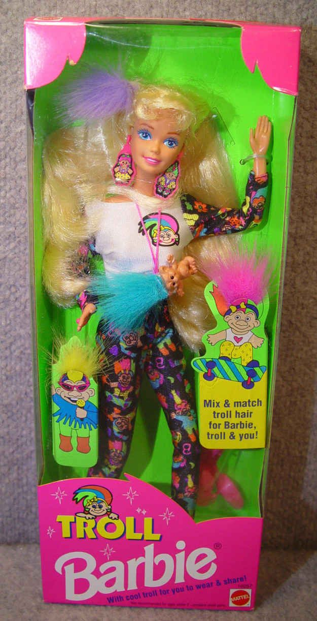 You remember playing with this colorful Troll Barbie that made you wish you could have sweet-ass leggings like hers.