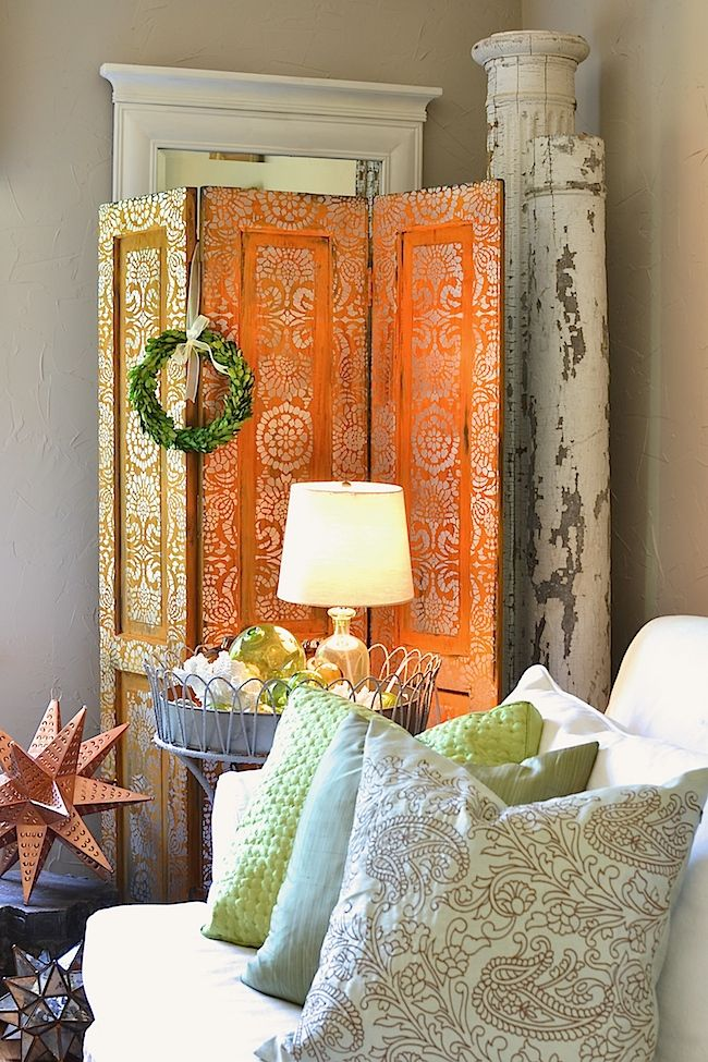 Rusted and Stenciled Folding Screen with Metal Effects and Metallic