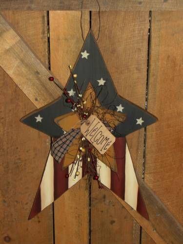 Americana Prim Star Flag Ornaments 5pc Set AGD Patriotic Decor