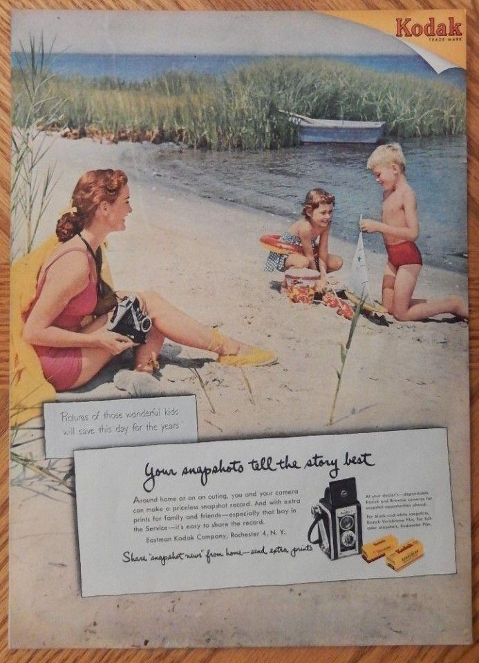 Kodak print ad Rare Color Illustration mother and kids on beach 1951 Life  Magazine Art | Vintage advertisements, Vintage ads, Kodak