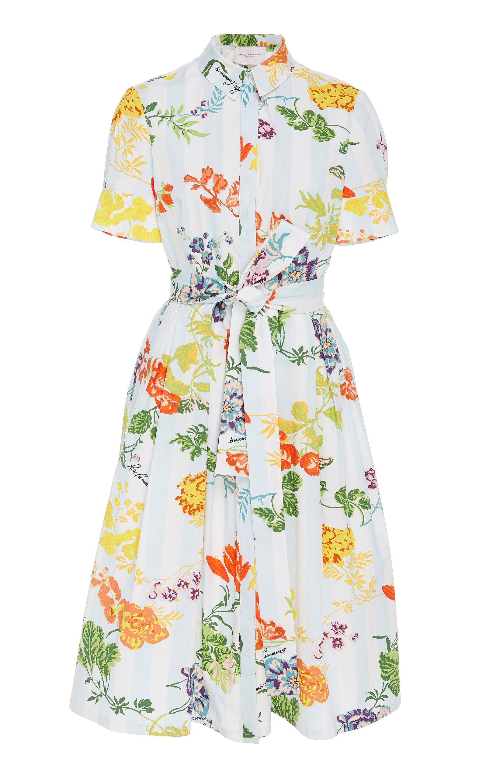 769d1052bc5 Carolina Herrera Floral-Print Belted Cotton-Blend Midi Shirt Dress ...