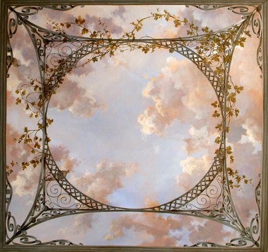 Trompe l'oeil: cloud ceiling with lattice
