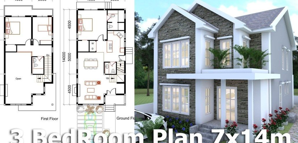3 Bedrooms Home Plan 7x14m Small House Design House Plans Home Design Floor Plans