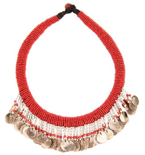 Collier en perles orange corail à pièces d'argent, Muzungu Sisters