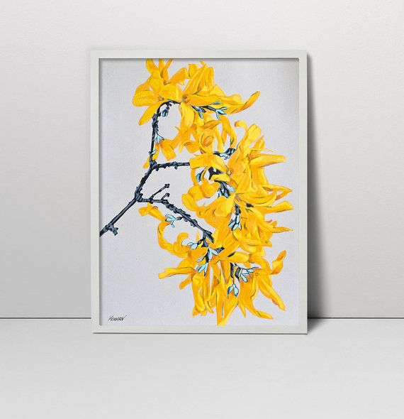 Handmade screen print painting Forsythia branch serigraph ...