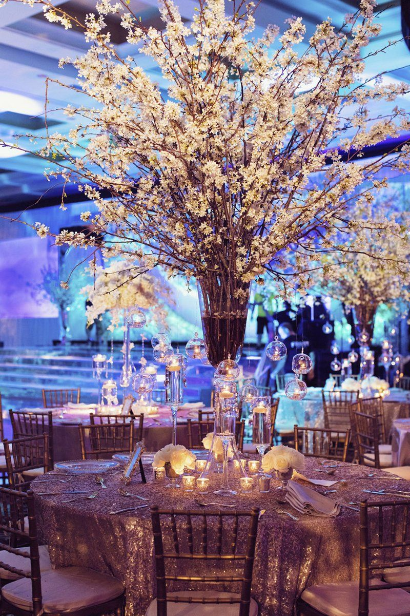 Opulent Wedding With Classic Winter White Color Scheme Inside Weddings Cherry Blossom Centerpiece White Flower Centerpieces Branch Centerpieces