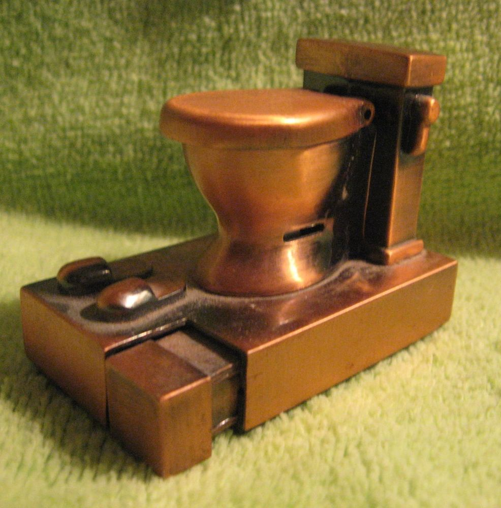Vintage Novelty Cigarette Lighter * Copper Toilet Butane | Stuff to
