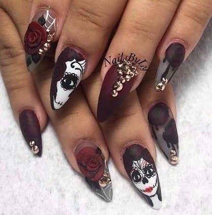 day of the dead nails kortenstein  skull nails