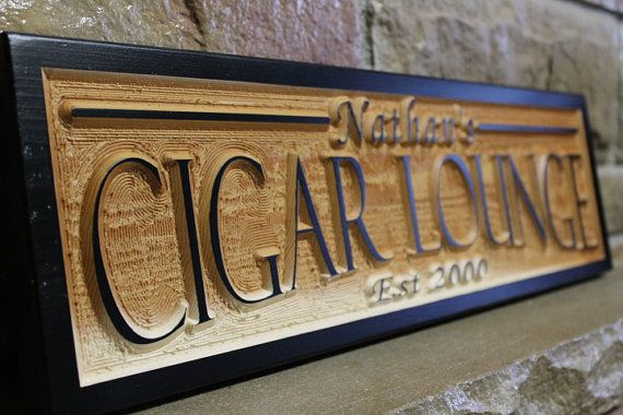 PREMIUM CIGARS Rustic Painted Wooden Sign