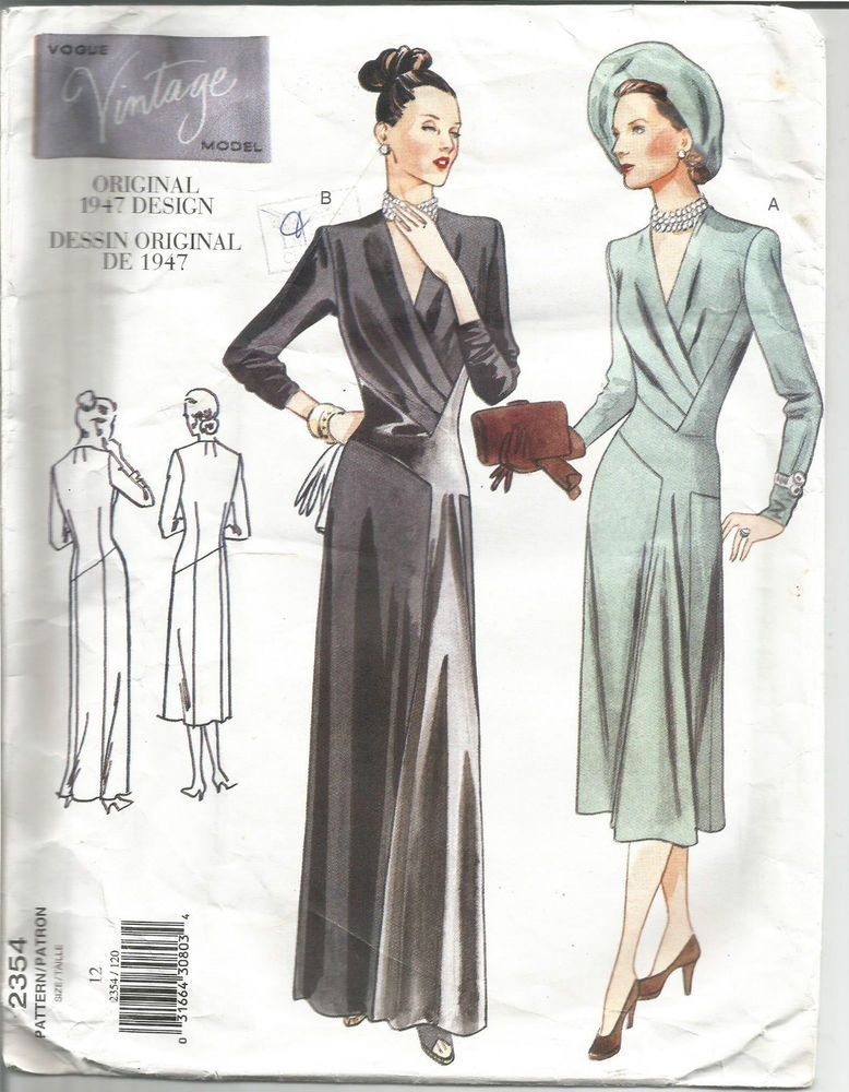 Vogue Sewing Pattern 2354, 1947 Dress with Shaped Bodice | 1940\'s in ...