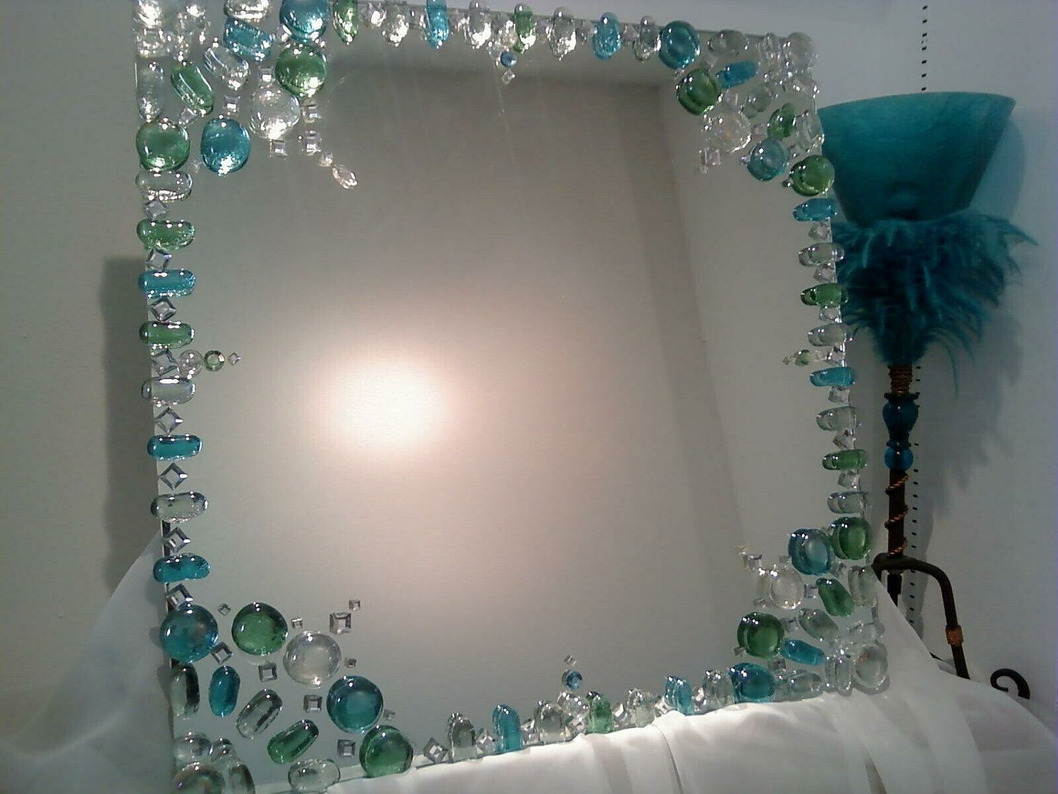 Mirror design idea decorating the edge with gems instead for Mirror on mirror decorating for bathroom