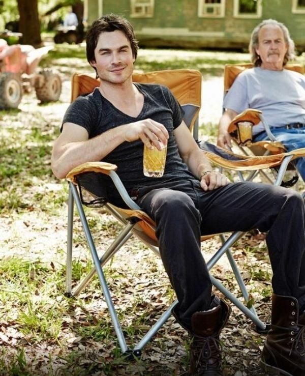 Relaxing with a cool drink with his Dad. 2013