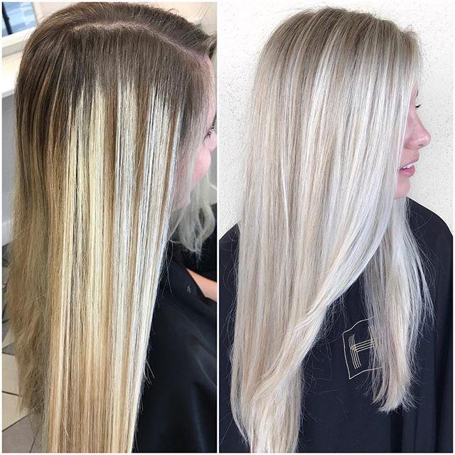 Before After Formula Full Head Highlight Silk Lift 20vl Olaplex No 1 Used 15vl Olaplex Around Cool Blonde Hair Bleach Blonde Hair Hair Highlights