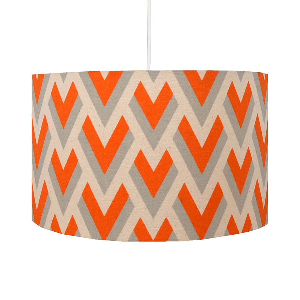 Orange Grey Geometric Handmade Drum Lamp Shade Hunkydory Home Geometric Lampshade Orange Lampshade Retro Lampshade