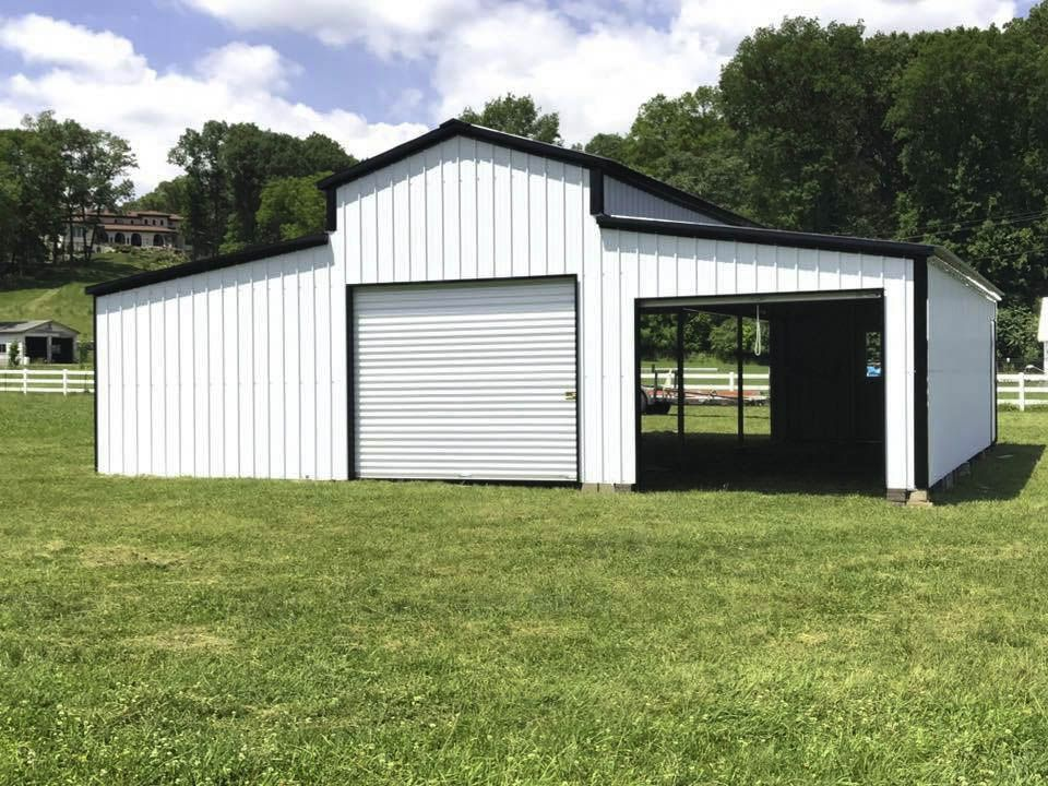 B 03 36x25x12 8 Barn W Lean Tos Metal Barns Steel Carports Metal Barn Barn