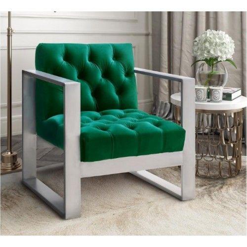 Stupendous Velvet Green Tufted Stainless Steel Lounge Chair In 2019 Inzonedesignstudio Interior Chair Design Inzonedesignstudiocom