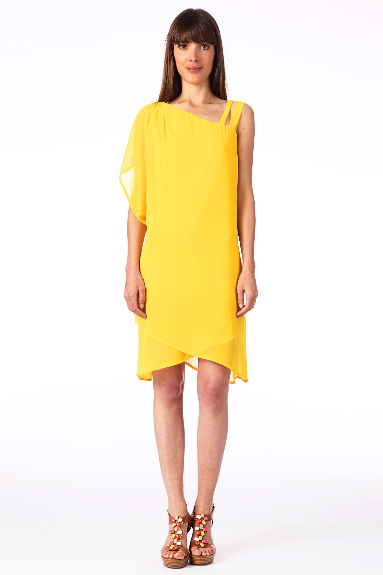 d40a393982269 Robe asymétrique Chris Jaune   Vero Moda   robes jaune   Robe, Moda ...