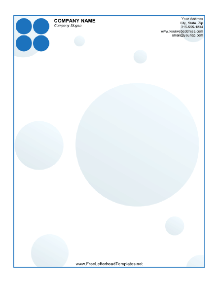 Blue circles accent this printable letterhead free to download and business letterhead with dots letterhead templates flashek Choice Image