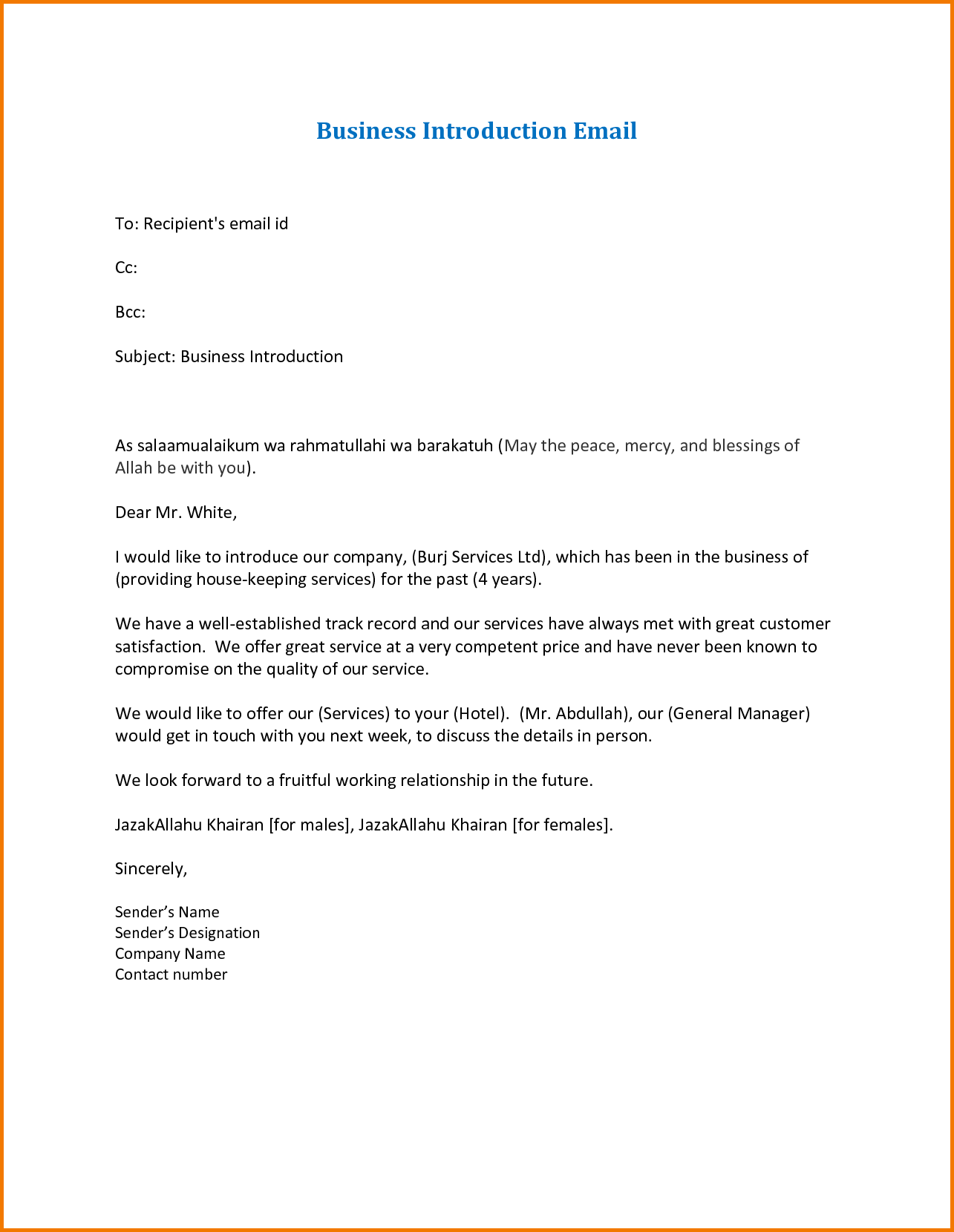 company introduction email template letter civil contractor formal format