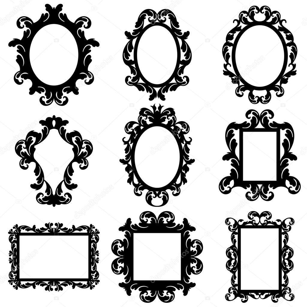 Vector conjunto de siluetas de marco barroco con nueve cuadros ...